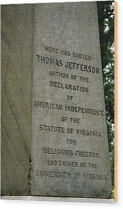 Thomas Jefferson Tombstone Close Up Wood Print