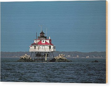 Thomas Point Shoal Light Wood Print by Sally Weigand