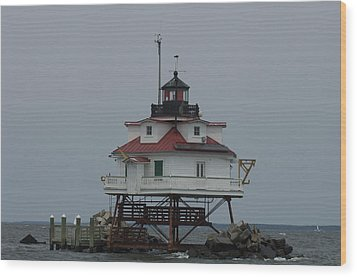Thomas Point Shoal Lighthouse Wood Print by Paul Sutherland