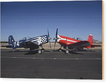 Thompson Trophy Goodyear F2g Corsair Reunion Falcon Field Arizona December 27 2011 Wood Print by Brian Lockett