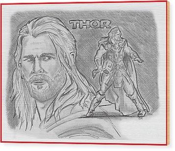 Thor Odinson Wood Print by Chris  DelVecchio