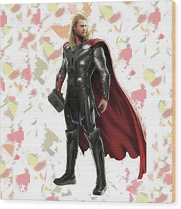Wood Print featuring the mixed media Thor Splash Super Hero Series by Movie Poster Prints