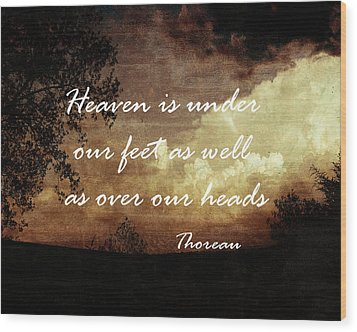 Thoreau Nature Quote Wood Print by Ann Powell