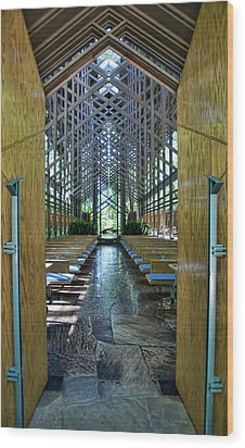 Wood Print featuring the photograph Thorncrown Chapel Entrance by Cricket Hackmann