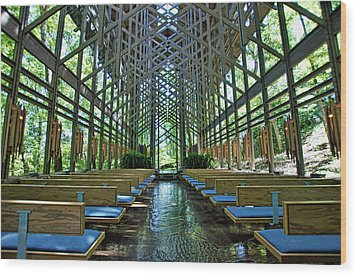 Wood Print featuring the photograph Thorncrown Chapel Interior by Cricket Hackmann