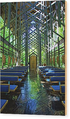 Wood Print featuring the photograph Thorncrown Chapel Serenity by Cricket Hackmann