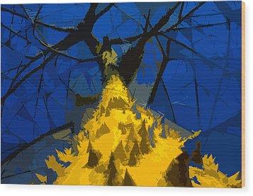 Thorny Tree Blue Sky Wood Print by David Lee Thompson