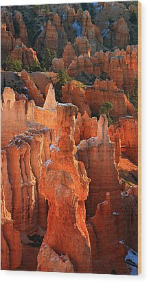 Thor's Hammer At Sunrise In Bryce Canyon Wood Print by Pierre Leclerc Photography