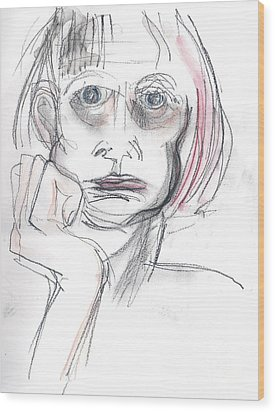 Wood Print featuring the drawing Thoughtful - A Selfie by Carolyn Weltman