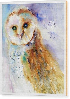 Thoughtful Barn Owl Wood Print by Christy Lemp