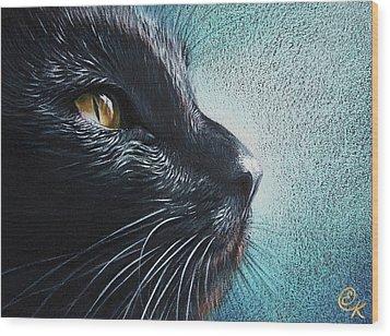 Thoughtful Cat Wood Print by Elena Kolotusha