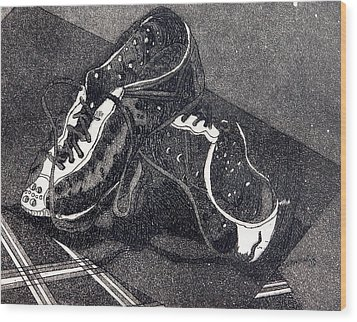 Thousand Mile Bicycle Shoes Wood Print by Jan Bennicoff