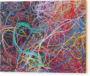Thread Collection Wood Print by Gwyn Newcombe
