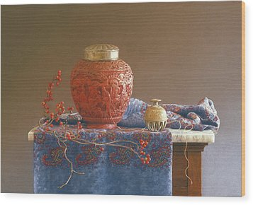 Thread To The Past Wood Print by Barbara Groff