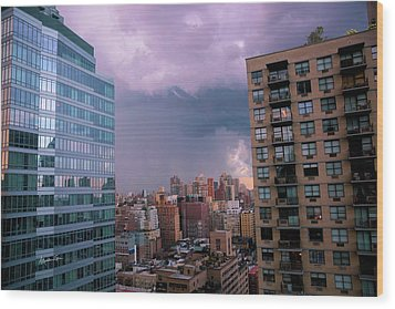 Wood Print featuring the photograph Threatening Storm - Manhattan - 2016 by Madeline Ellis
