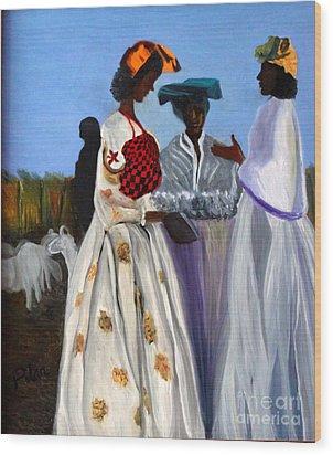Three African Women Wood Print by Pilar  Martinez-Byrne