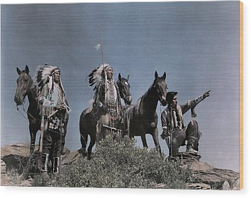 Three American Indians On The Crow Wood Print by Edwin L. Wisherd