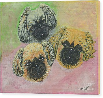 Wood Print featuring the painting Three Amigos by Ania M Milo