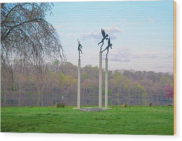 Wood Print featuring the photograph Three Angels In Spring - Kelly Drive Philadelphia by Bill Cannon
