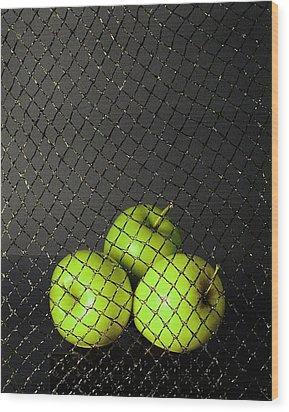 Wood Print featuring the photograph Three Apples by Viktor Savchenko