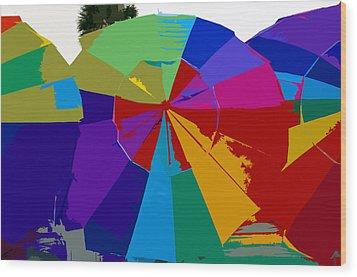 Three Beach Umbrellas Wood Print by David Lee Thompson