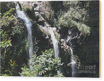 Wood Print featuring the photograph Upper Waikani Falls by Wilko Van de Kamp