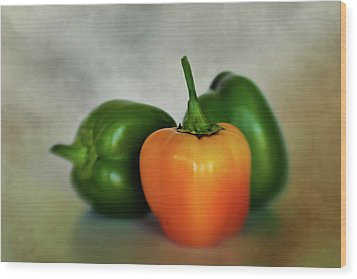 Wood Print featuring the photograph Three Bell Peppers by David and Carol Kelly