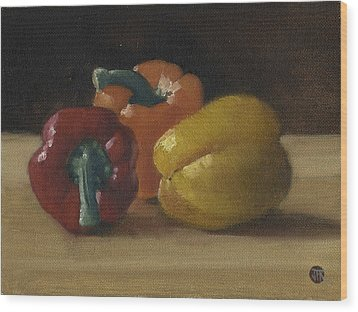 Three Bell Peppers Wood Print by John Reynolds