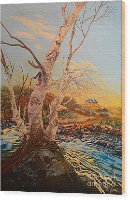 Three Birches Wood Print