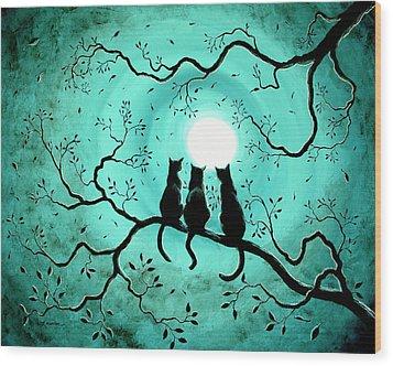 Three Black Cats Under A Full Moon Wood Print