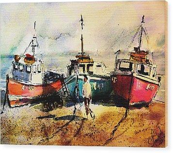 Three Boats Wood Print by Steven Ponsford