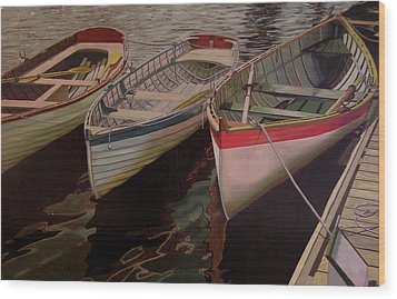 Wood Print featuring the painting Three Boats by Thu Nguyen