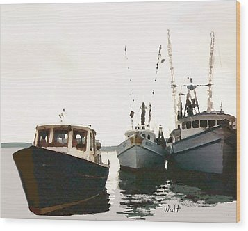 Wood Print featuring the photograph Three Boats by Walter Chamberlain