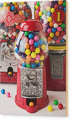 Three Bubble Gum Machines Wood Print by Garry Gay