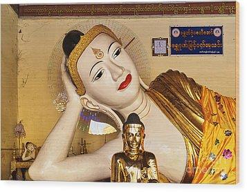 Three Buddhas At Shwedagon Pagoda Wood Print by Dean Harte