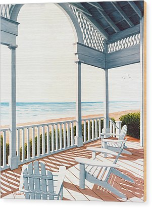 Adirondacks By The Sea - Prints From Original Oil Painting Wood Print