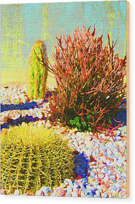 Three Cacti Wood Print by Amy Vangsgard