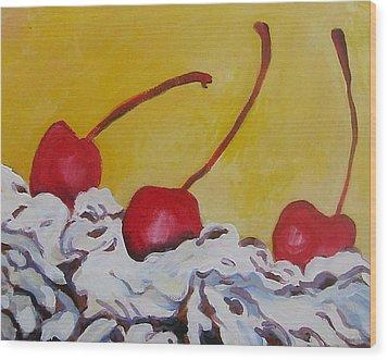 Three Cherries Wood Print