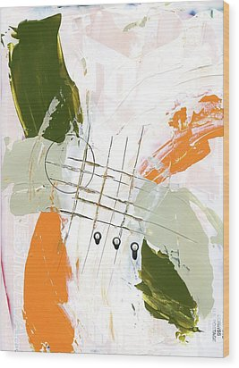 Three Color Palette Orange 3 Wood Print by Michal Mitak Mahgerefteh