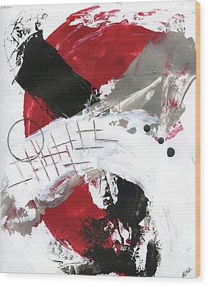 Three Color Palette Red 2 Wood Print by Michal Mitak Mahgerefteh