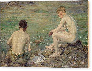 Three Companions Wood Print by Henry Scott Tuke