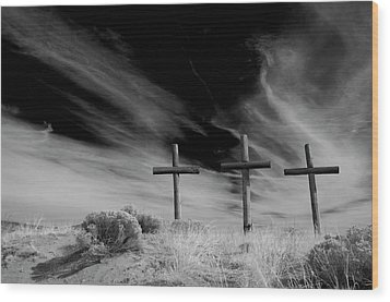 Three Crosses Wood Print by Carolyn Dalessandro