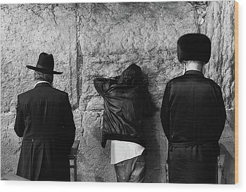 Three Different Selichot Prayers At The Kotel Wood Print by Yoel Koskas