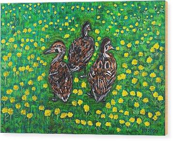 Three Ducklings Wood Print by Valerie Ornstein