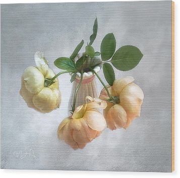 Wood Print featuring the photograph Three English Roses by Louise Kumpf