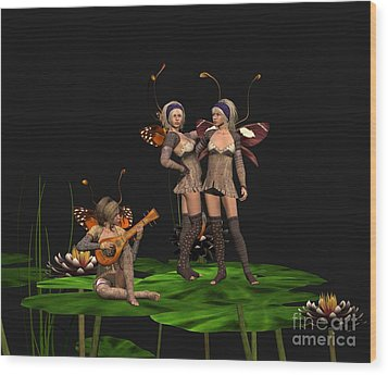 Three Fairies At A Pond Wood Print by John Junek