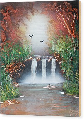 Wood Print featuring the painting Three Falls by Greg Moores