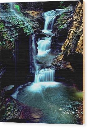 Three Falls Wood Print