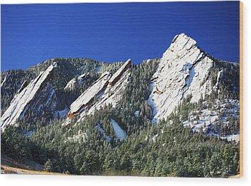 Three Flatirons Wood Print by Marilyn Hunt