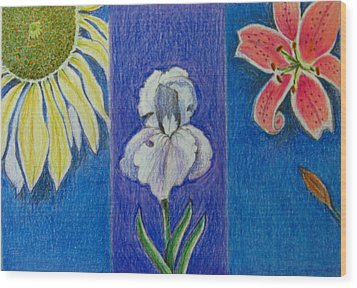 Wood Print featuring the drawing Three Flowers by Patricia Januszkiewicz